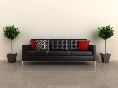 Illustration of a designer sofa, with plants either side, on a shiny stone floor. stock vector