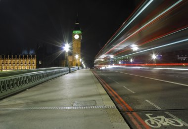 The Big Ben and Westminster Bridge at night