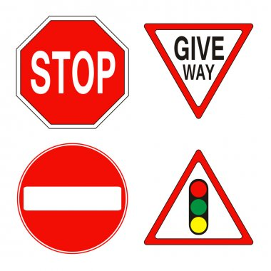 Warning and prohibition traffic signs