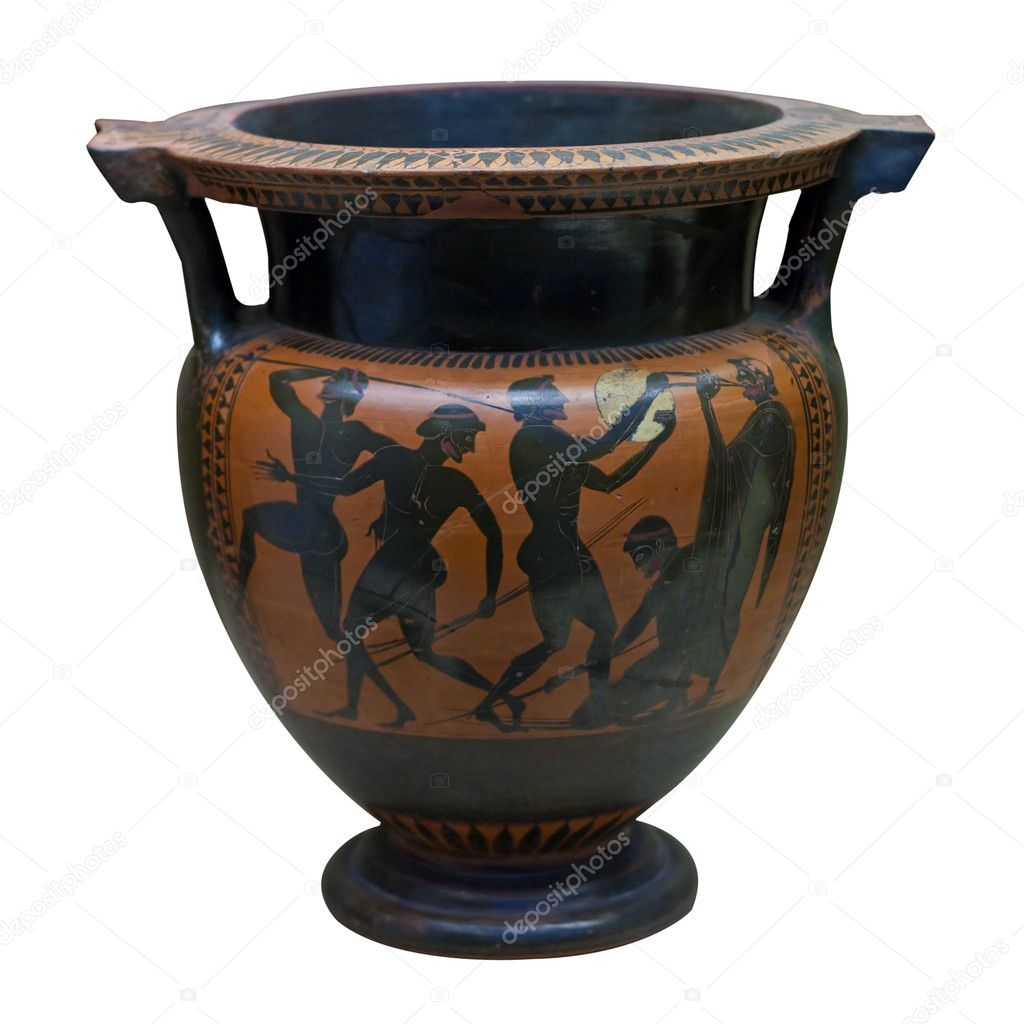 Ancient greek vase in black over red ceramic stock photo ancient greek vase in black over red ceramic depicting with spears and a musician photo by kmiragaya reviewsmspy