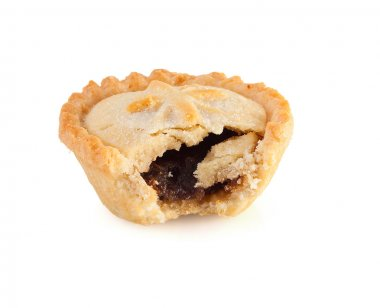 Christmas mince pie with a bite mark