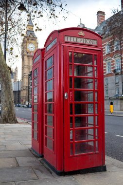 A pair of typical red phone in London