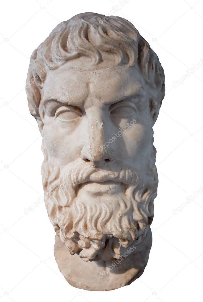哲学者エピクロスの大理石の頭部...
