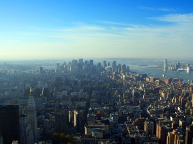 Aerial view over lower Manhattan