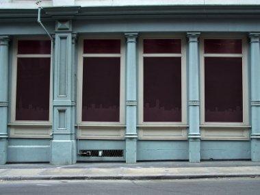 Blank shop windows on a street