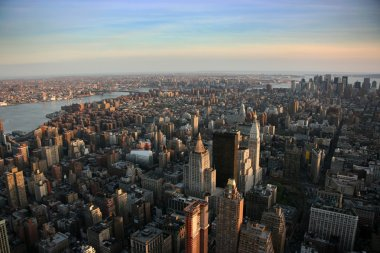 Aerial view over east lower Manhattan