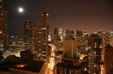 Chicago downtown aerial night view