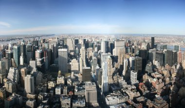 Aerial panoramic view over Manhattan