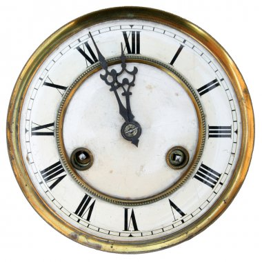 Old clock face isolated