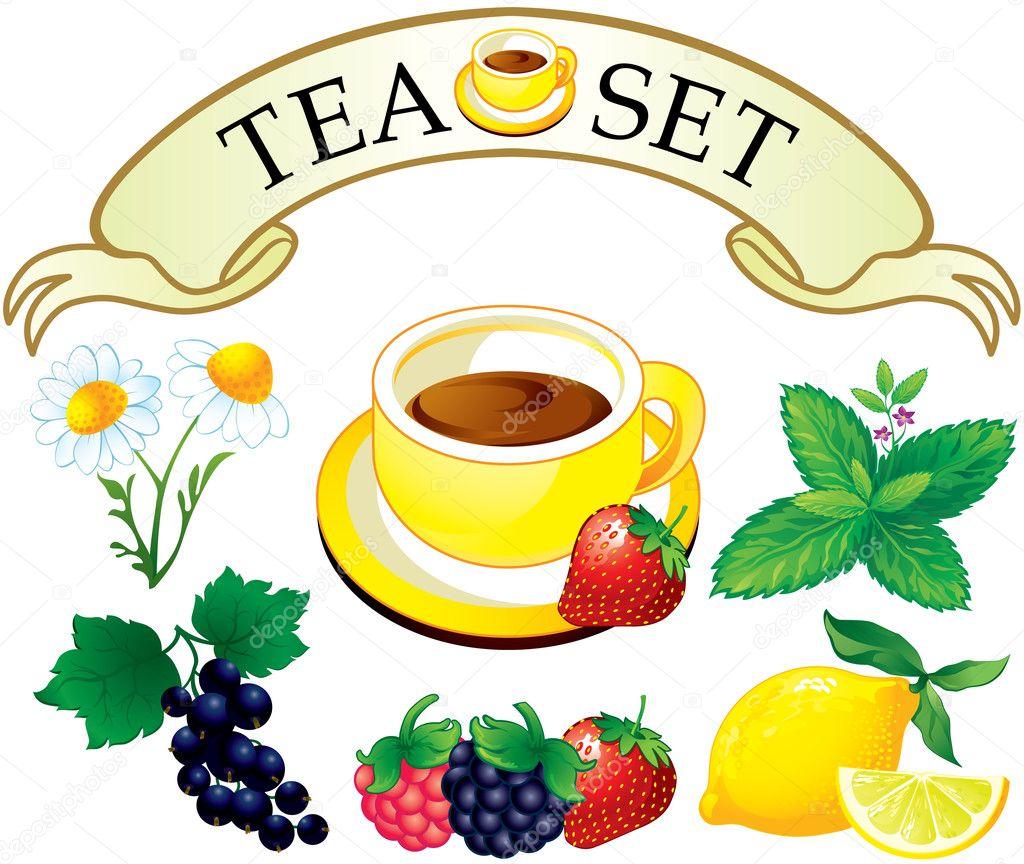 Tea set aromatic plants
