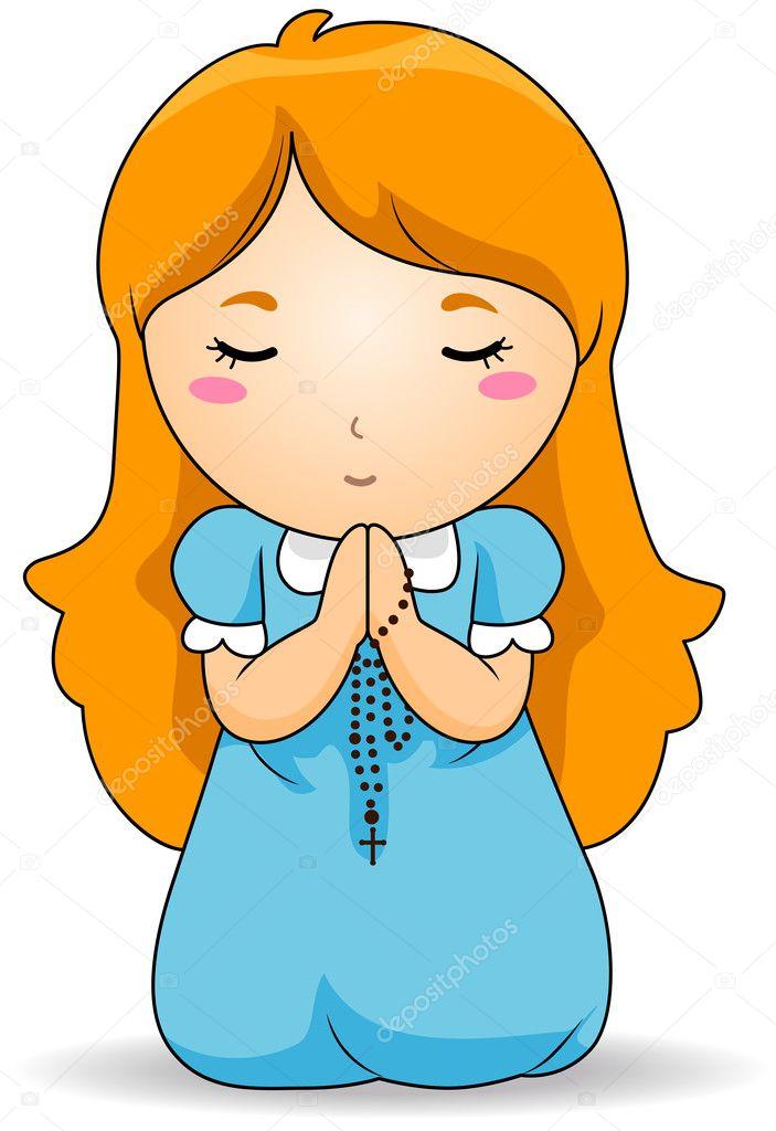 praying the rosary stock vector lenmdp 2432282 rh depositphotos com clip art of girls praying before her bible