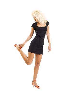 Girl wearing black mini dress