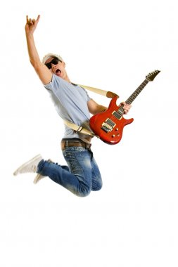 Guitarist jumps isolated on white