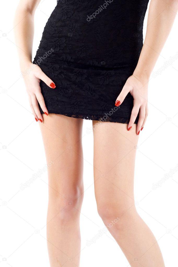 Mini skirt on a woman