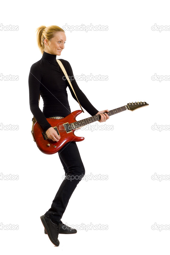Girl with red guitar over white