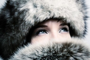 Fashion girl with furs