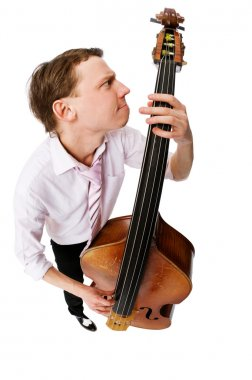 Bass viol player on white