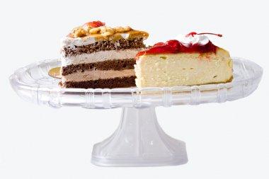 Cheese cake and chocolate cake desserts
