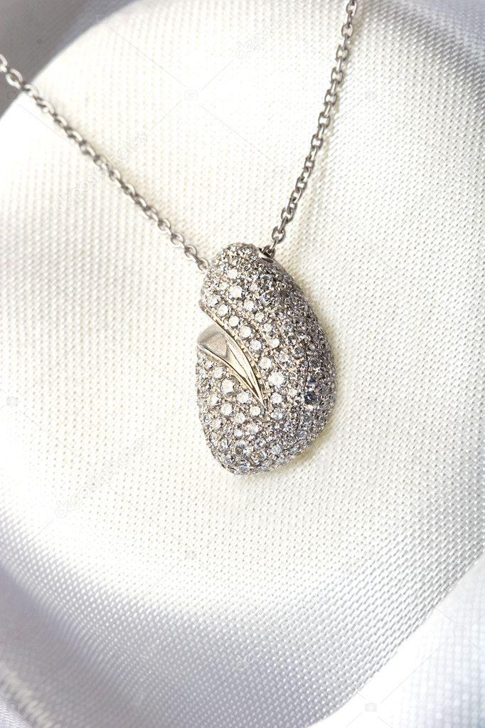 Diamond beautiful jewelry gold necklace — Stock Photo © djarvik ...