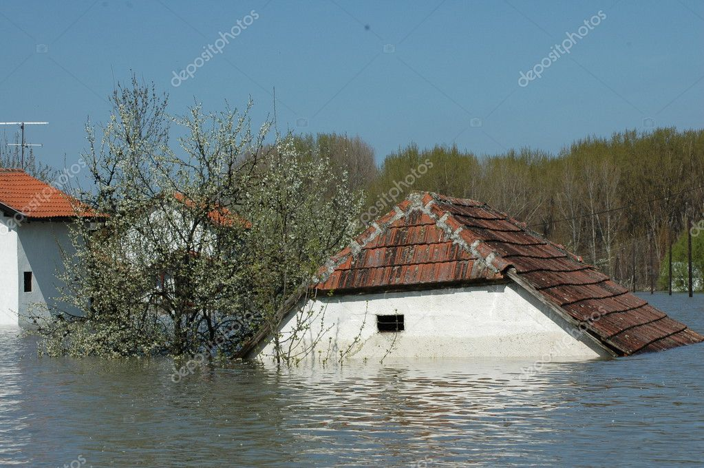Flood, river, disaster, hurricane, roof,