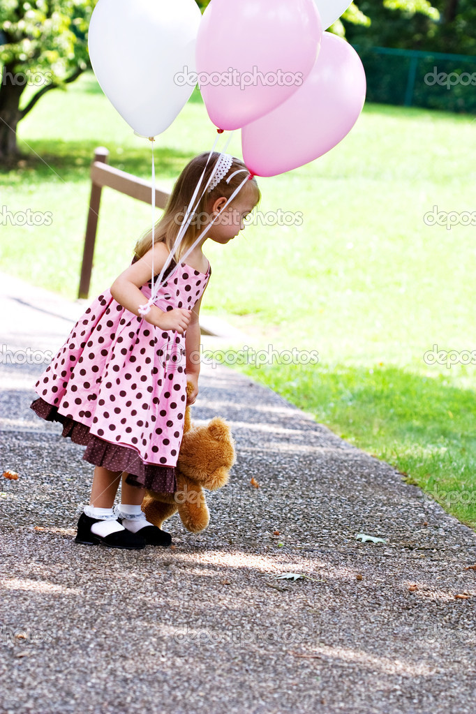 Child With Balloons and Teddy
