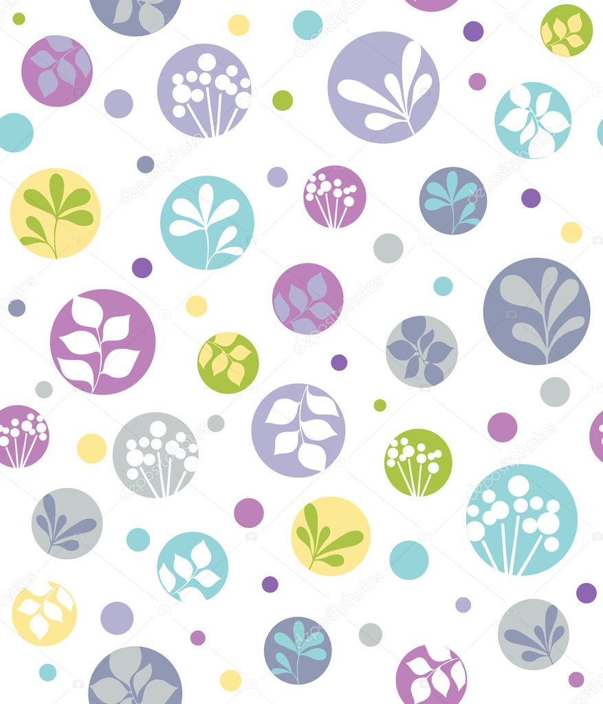 Seamless Repeat Pattern Foliage Leaves and Dots Vector