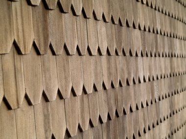 Wood Tile Wall on the Outside of a House