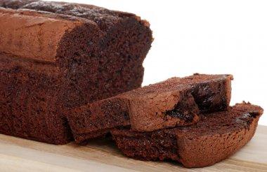 Belgium chocolate cake loaf focus on sli