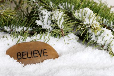 Believe stone in snow