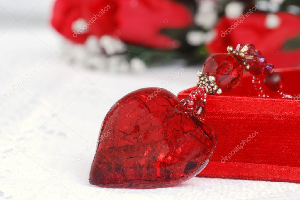 Macro red heart necklace