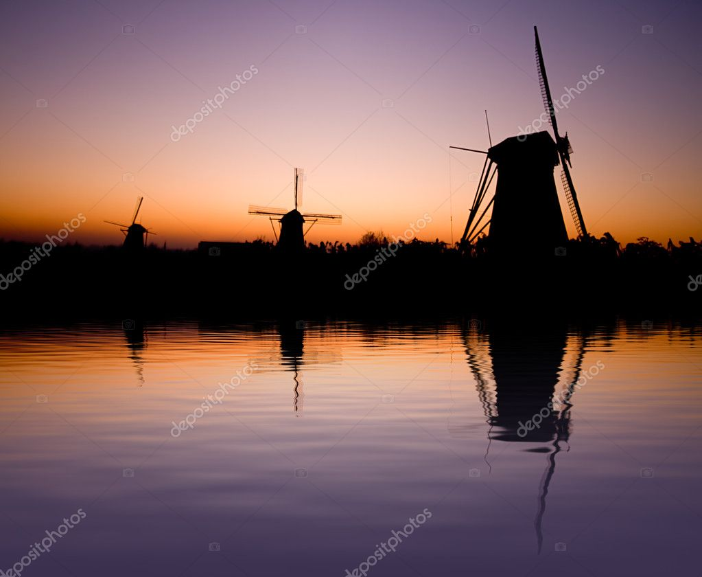Dutch windmill silhouette