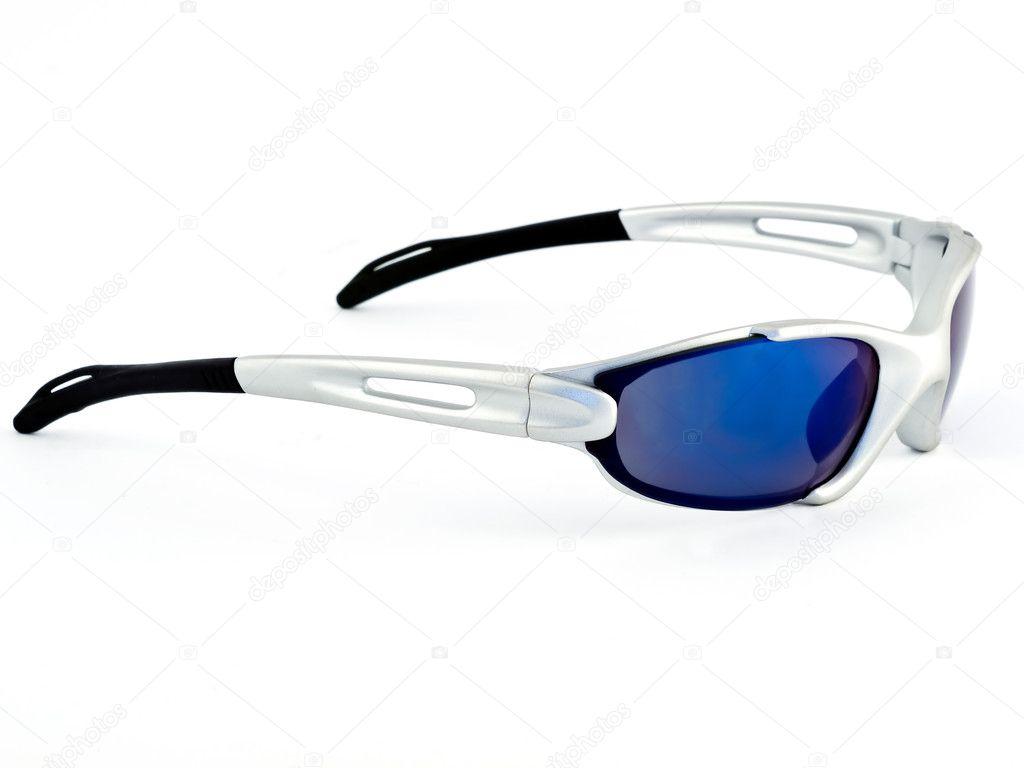 7d05d09fc9 Ένα απομονωμένο εικόνα της ποδηλασίας γυαλιά με μπλε φακούς — Εικόνα από ...