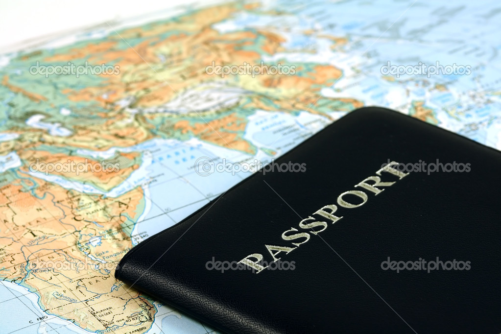 Travel with passport and map stock vector