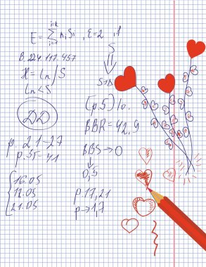 Hearts drawing in the notebook