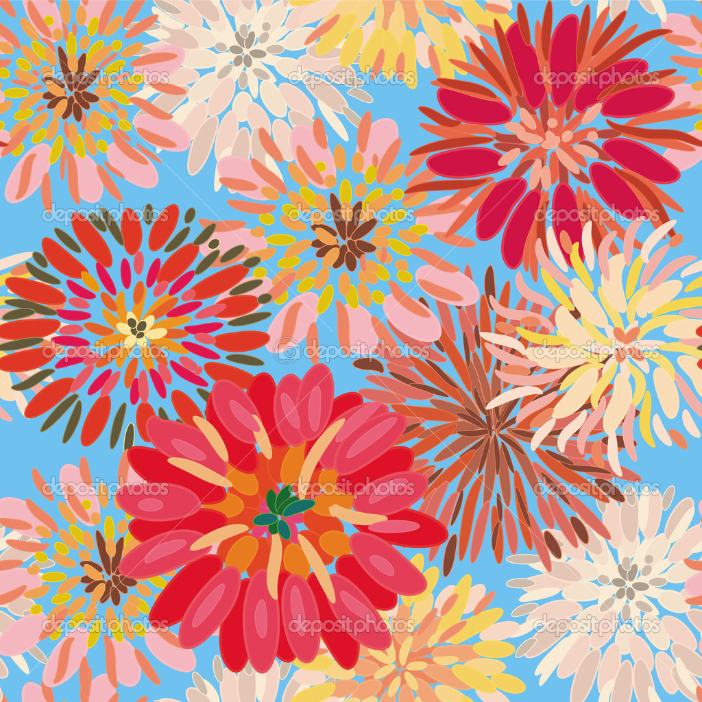 Seamless floral pattern with big dahlia