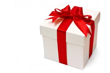 Red gift box isolated over white