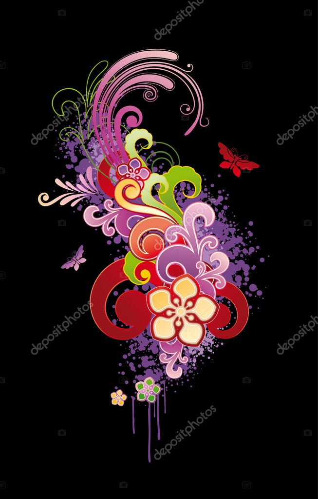 Modern floral colored background