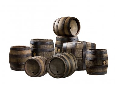 The old wood barrels