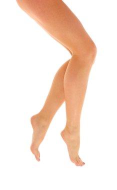 Barefoot slim woman legs