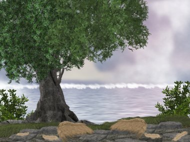 """Картина, постер, плакат, фотообои """"океанские скалы постеры осень"""", артикул 2641317"""