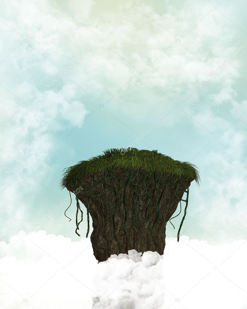 Cliff In The Clouds Background
