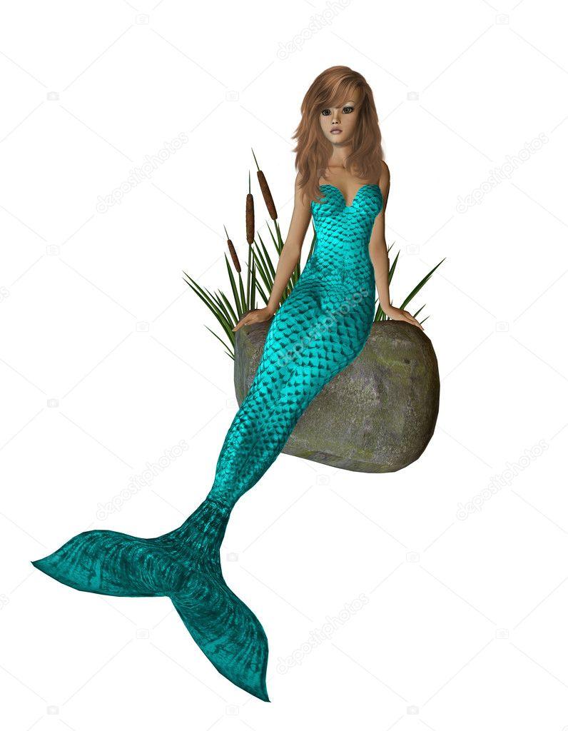 Aqua zeemeermin zittend op een rots — Stockfoto