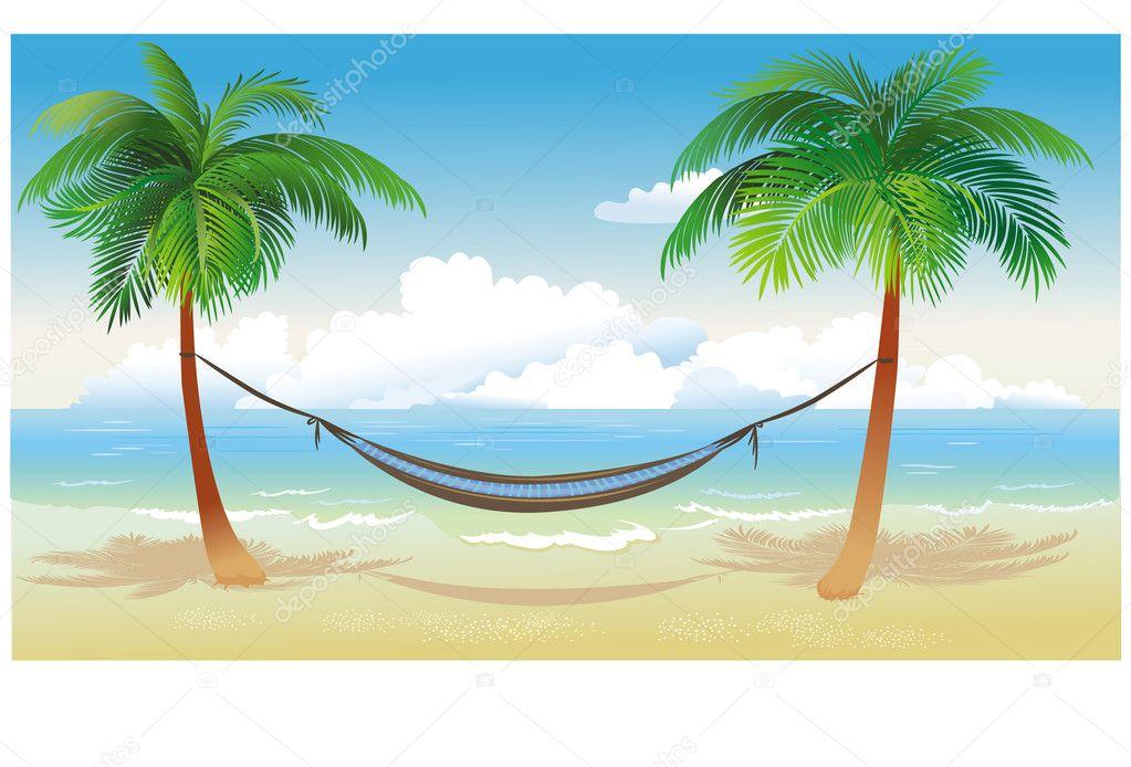 Hammock and palm trees on beach