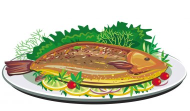 Roast fish on plate