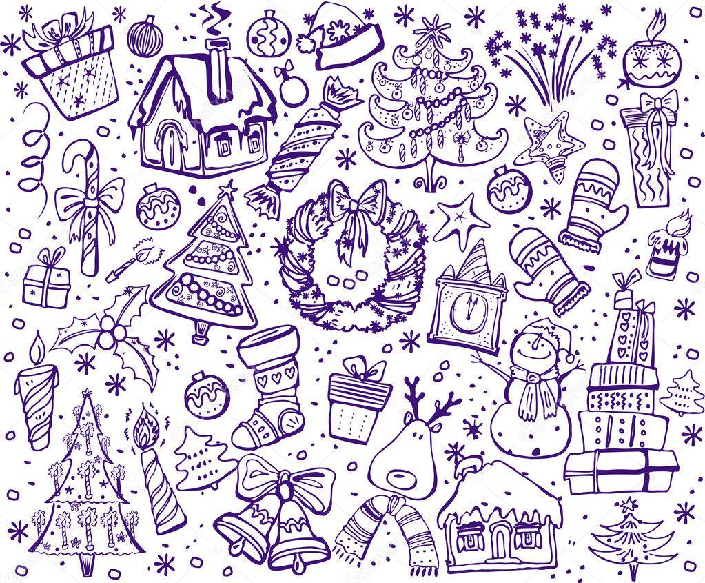 weihnachten und silvester weihnachten sketch — Stockvektor © wikki33 ...