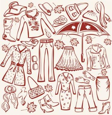 Set of woman autumn clothes