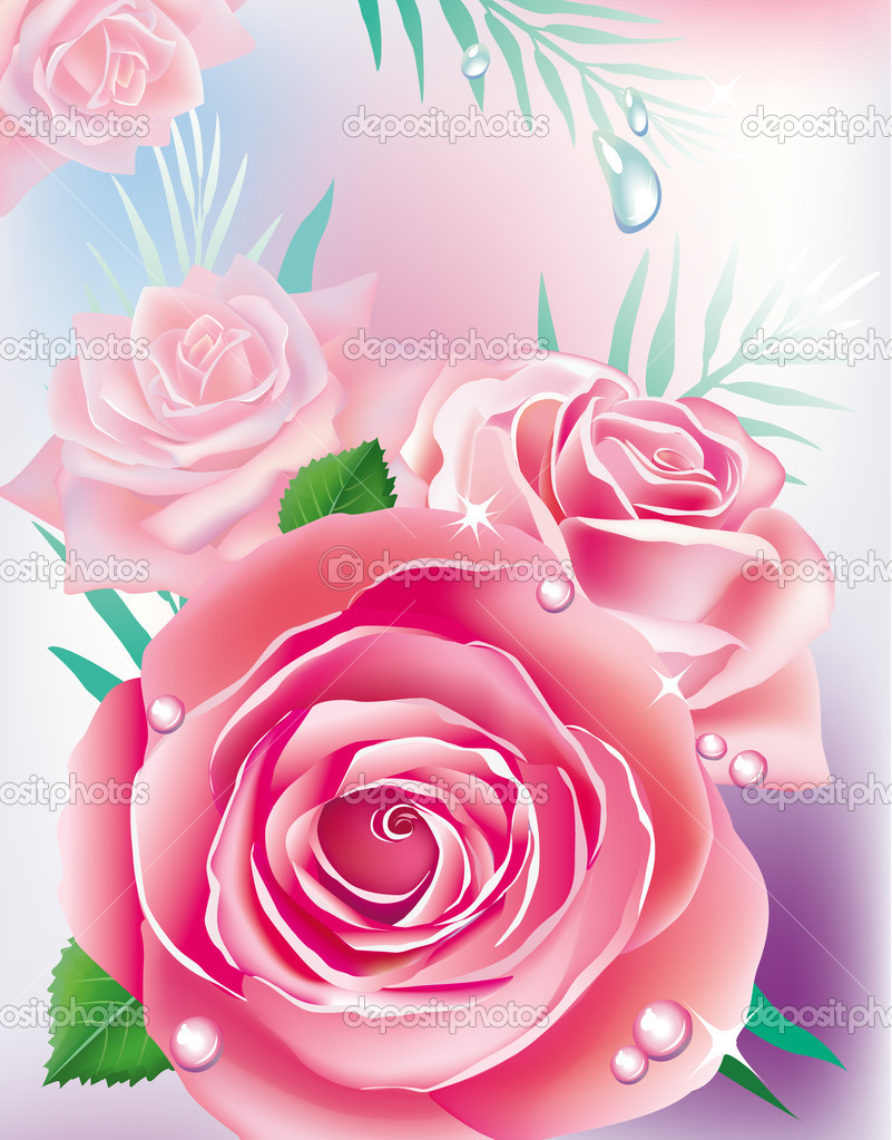 Card with pink roses