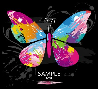 Butterfly from color splashes and line brushes stock vector