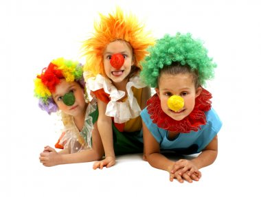 Three funny clowns
