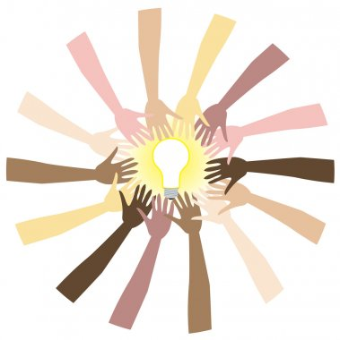 Teamwork can bring great ideas. Vector Illustration showing diversity and teamwork. clip art vector